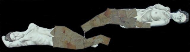 Lara Pacilio, 02 La coppia,2005 olio su sagoma in legno, placche in ferro 215X50cm