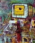 """Slum Surrounding the Temple of the Arbiter"" ($400)  - 11x14 - Acrylic and sharpie on bristol on cardboard on wood"