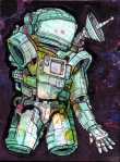". ""Armor of a Cosmonaut"" ($200) 6x8 - Acrylic and sharpie on paper on acrylic and canvas."