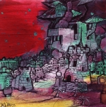 ". ""Favela of Capricorn"" ($180) 6x6 - Acrylic and sharpie on canvas board."