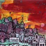 """Favela of Taurus"" ($150) - 5x5 - Acrylic and sharpie on canvas board."