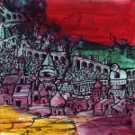 """Favela of Scorpio"" ($150) - 5x5 - Acrylic and sharpie on canvas board."