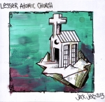 """Lesser Atomic Church"" ($40) - 4.5x4  - Acrylic and sharpie and pen on Bristol."