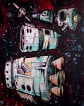 """Space Junk/Starships 2"" ($400) - 16x20 - Sharpie and acrylic on canvas."