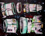 """Space Junk/Starships 3"" ($300) - 14x11 - Sharpie and acrylic on canvas."