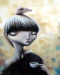 """Ostrich girl"", acrylic on canvas, 24x30 $670"